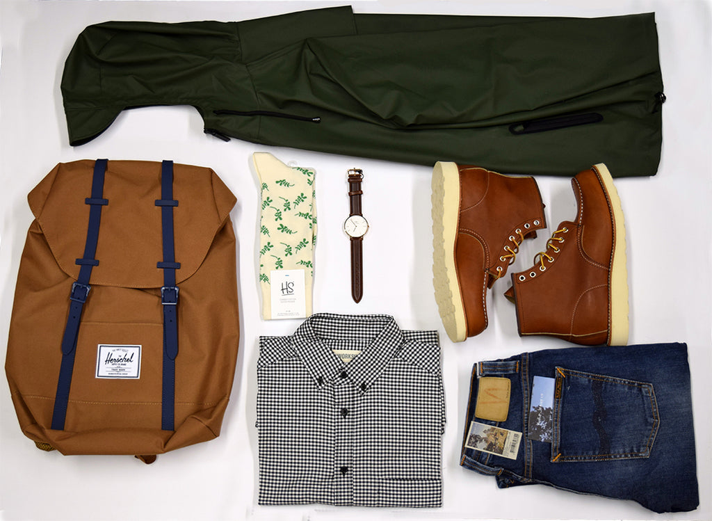 Outfit Grid; RAINS, Workshop, Herschel Supply Co., Daniel Wellington, Happy Socks, Red Wing Shoes