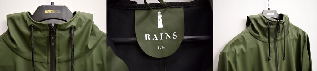 RAINS Olive Green Overcoat