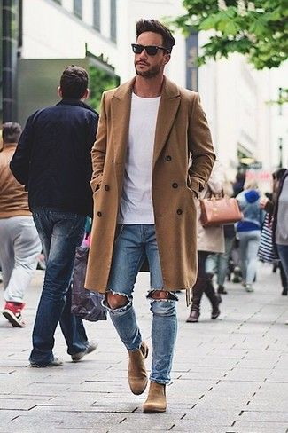 brown chelsea boots mens outfit