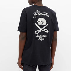 DENHAM WELLINGTON EMBROIDERED TEE IN BLACK
