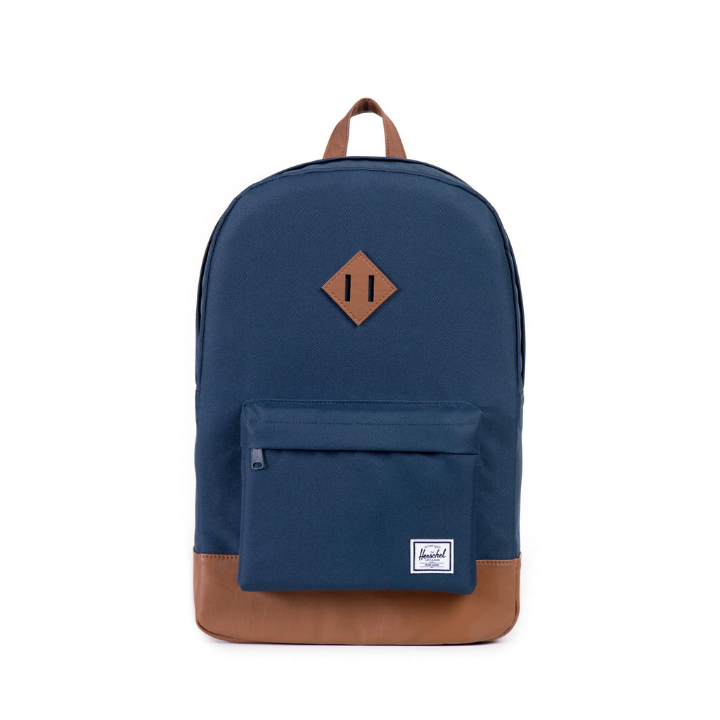 HERSCHEL HERITAGE BACKPACK IN NAVY WITH FAUX LEATHER  - 1
