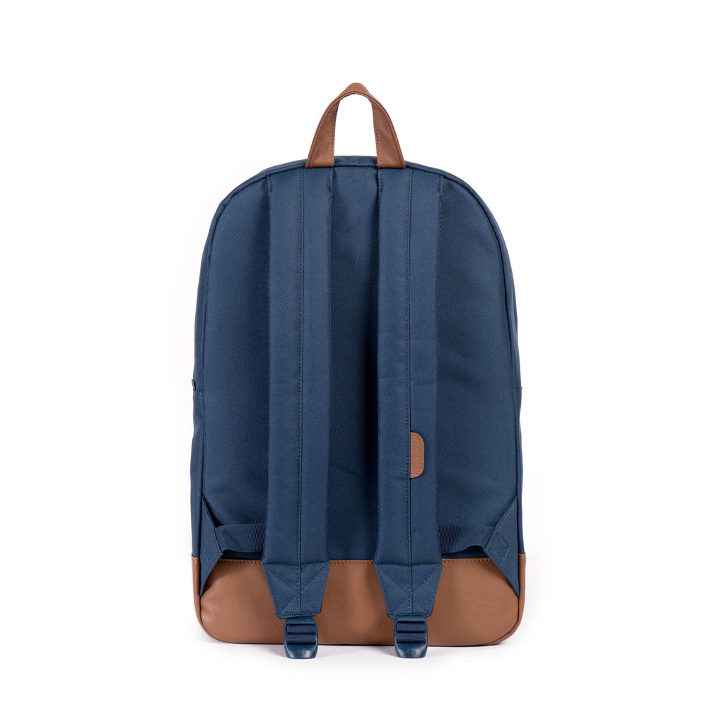 HERSCHEL HERITAGE BACKPACK IN NAVY WITH FAUX LEATHER  - 4