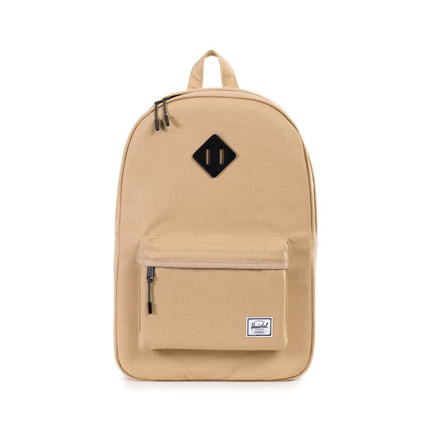 HERSCHEL HERITAGE BACKPACK IN KHAKI CANVAS AND BLACK LEATHER  - 1
