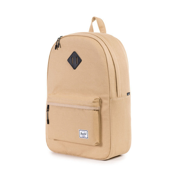 HERSCHEL HERITAGE BACKPACK IN KHAKI CANVAS AND BLACK LEATHER  - 3