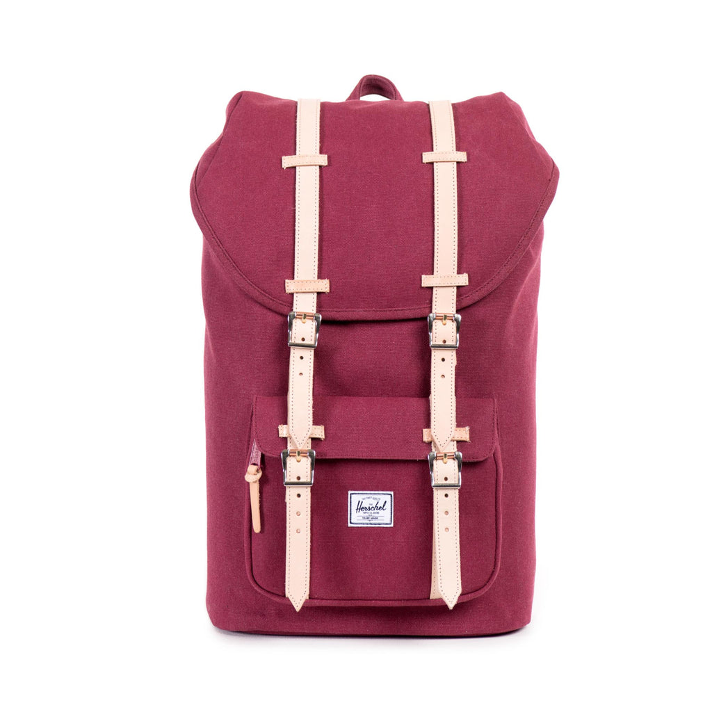 HERSCHEL SELECT SERIES LITTLE AMERICA BACKPACK IN WINDSOR WINE WITH LEATHER DETAIL  - 1