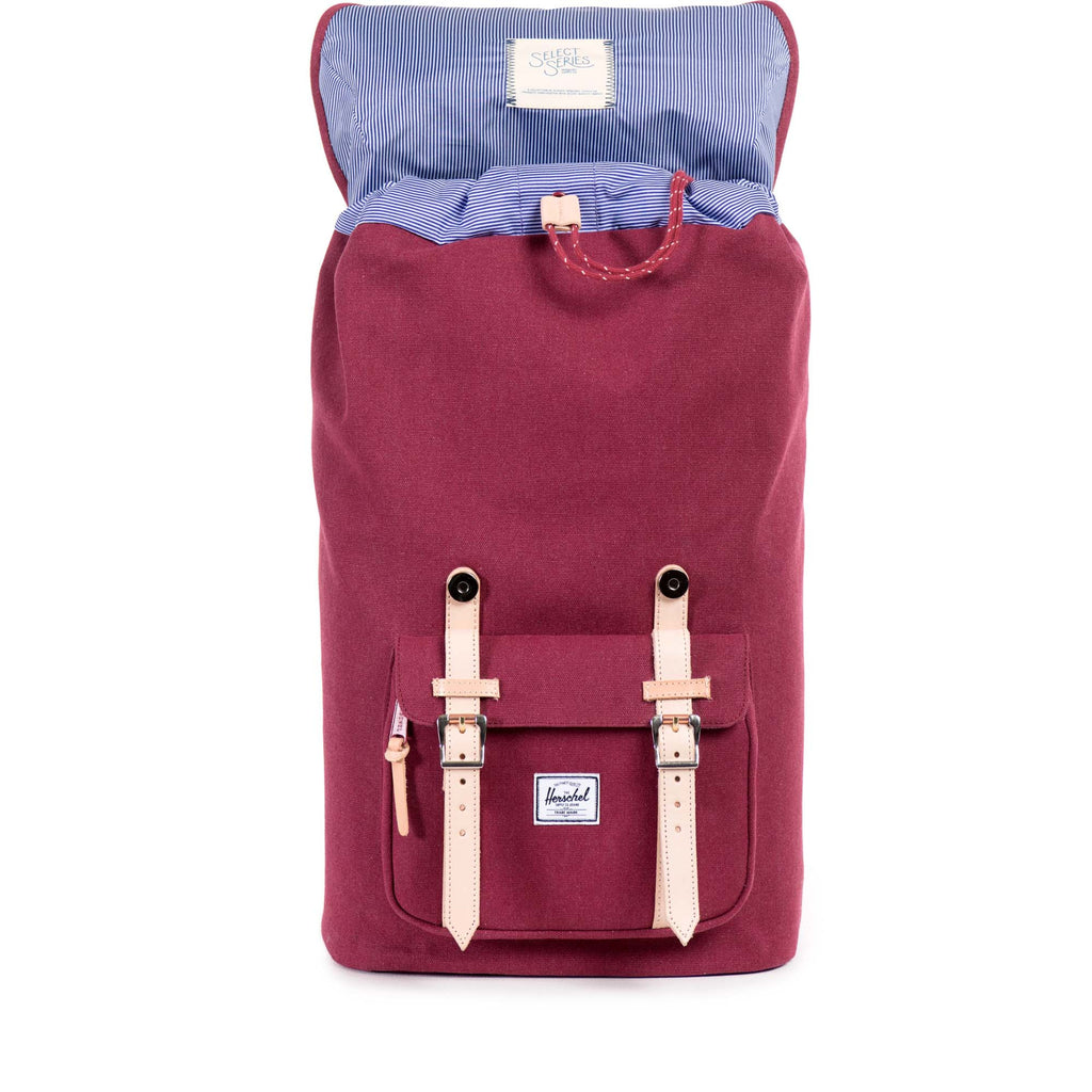 HERSCHEL SELECT SERIES LITTLE AMERICA BACKPACK IN WINDSOR WINE WITH LEATHER DETAIL  - 2