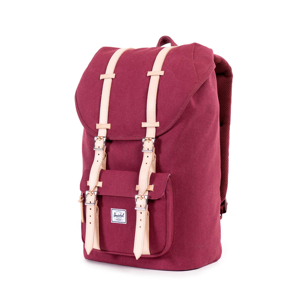 HERSCHEL SELECT SERIES LITTLE AMERICA BACKPACK IN WINDSOR WINE WITH LEATHER DETAIL  - 3