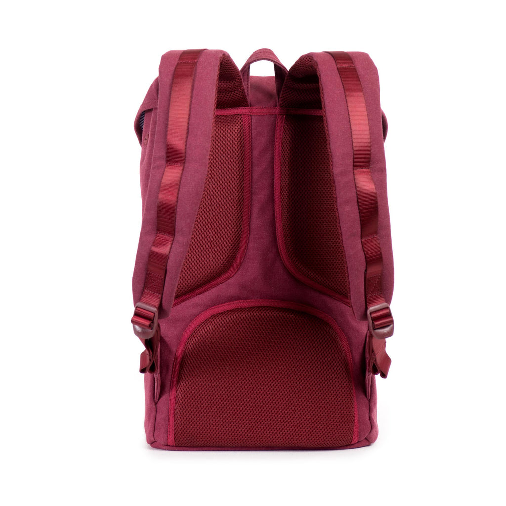 HERSCHEL SELECT SERIES LITTLE AMERICA BACKPACK IN WINDSOR WINE WITH LEATHER DETAIL  - 4