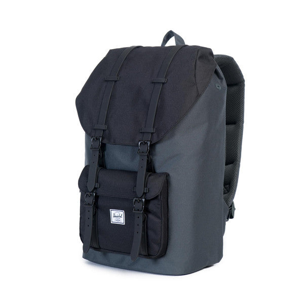 HERSCHEL LITTLE AMERICA BACKPACK IN DARK SHADOW AND BLACK RUBBER  - 3