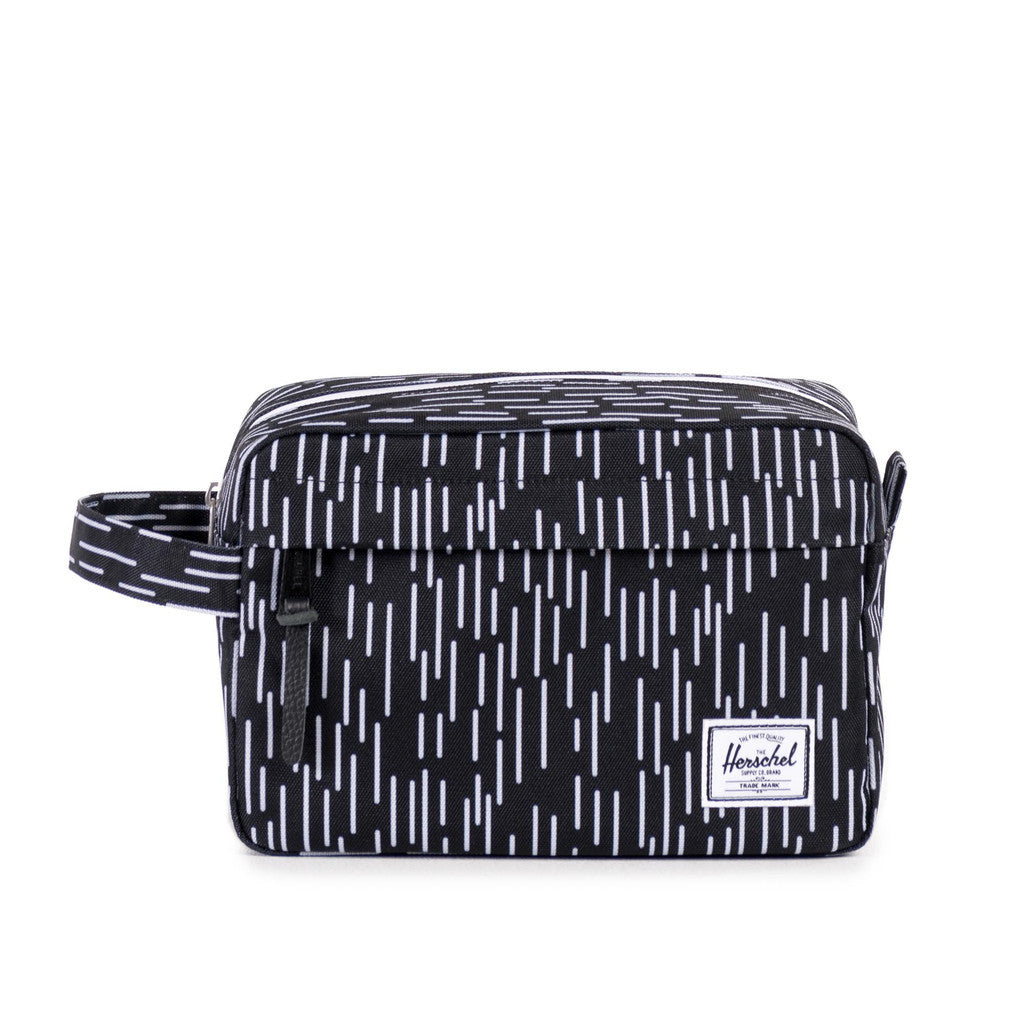 HERSCHEL SUPPLY CO. CHAPTER TRAVEL KIT IN BLACK WITH WHITE RAIN CAMO  - 1