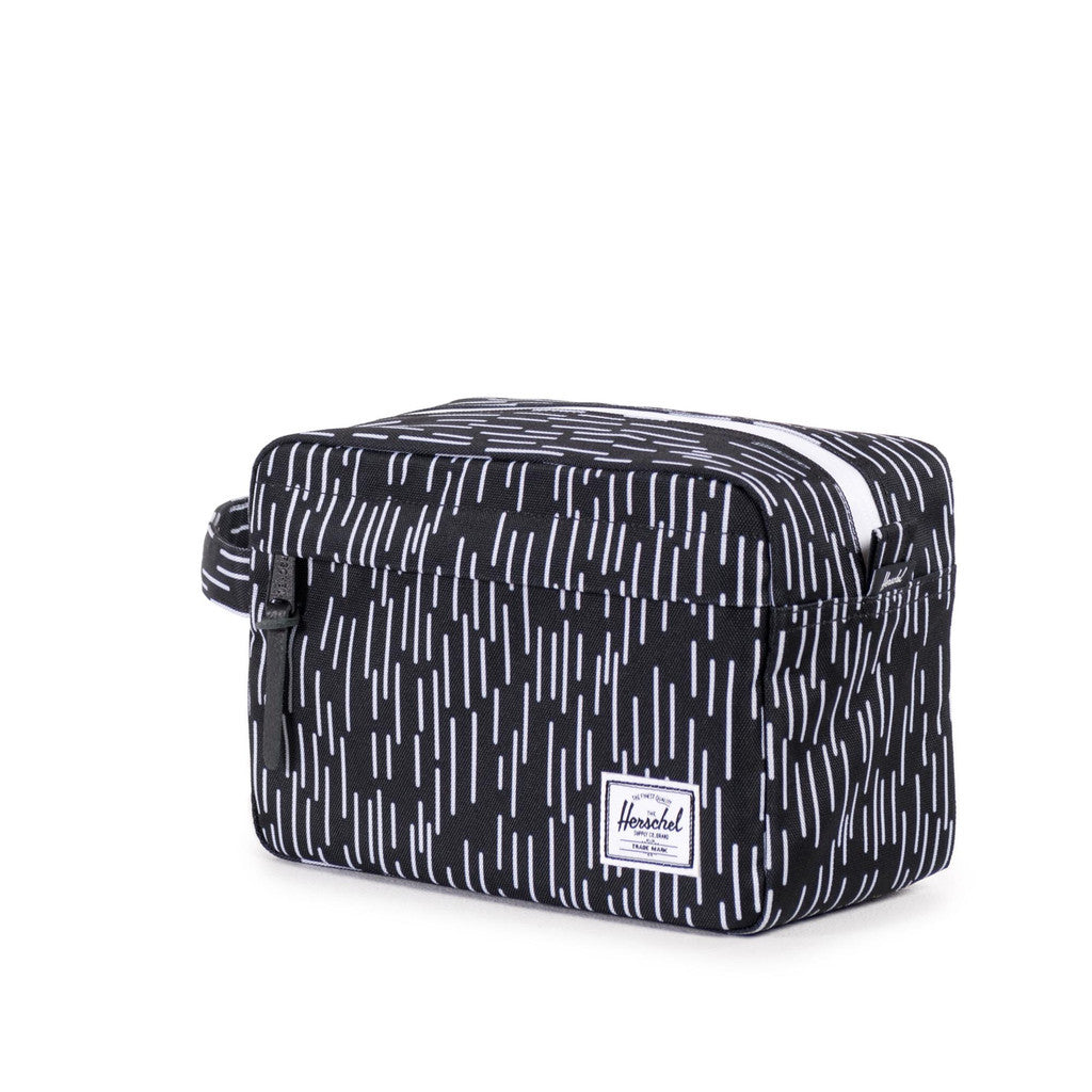 HERSCHEL SUPPLY CO. CHAPTER TRAVEL KIT IN BLACK WITH WHITE RAIN CAMO  - 2