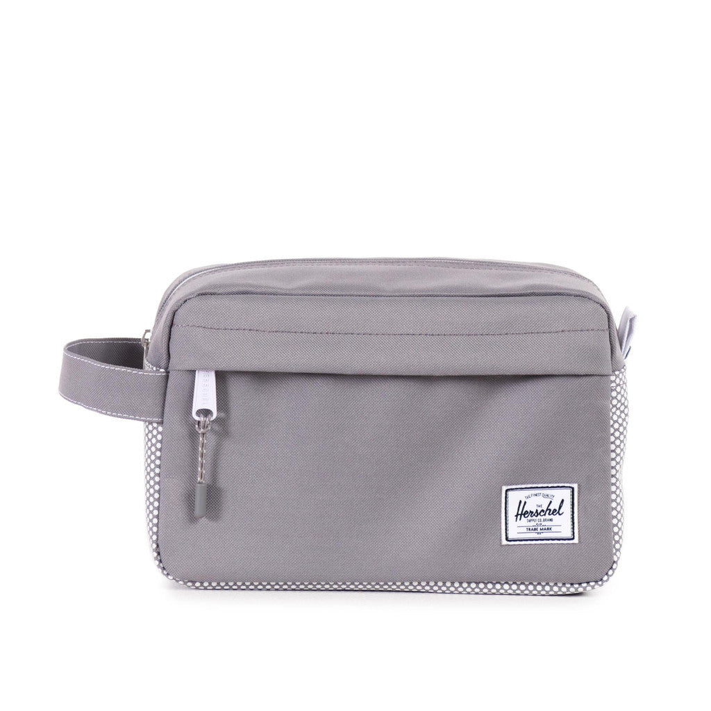 HERSCHEL SUPPLY CO. CHAPTER TRAVEL KIT IN GREY MICRO POLKA DOT  - 1