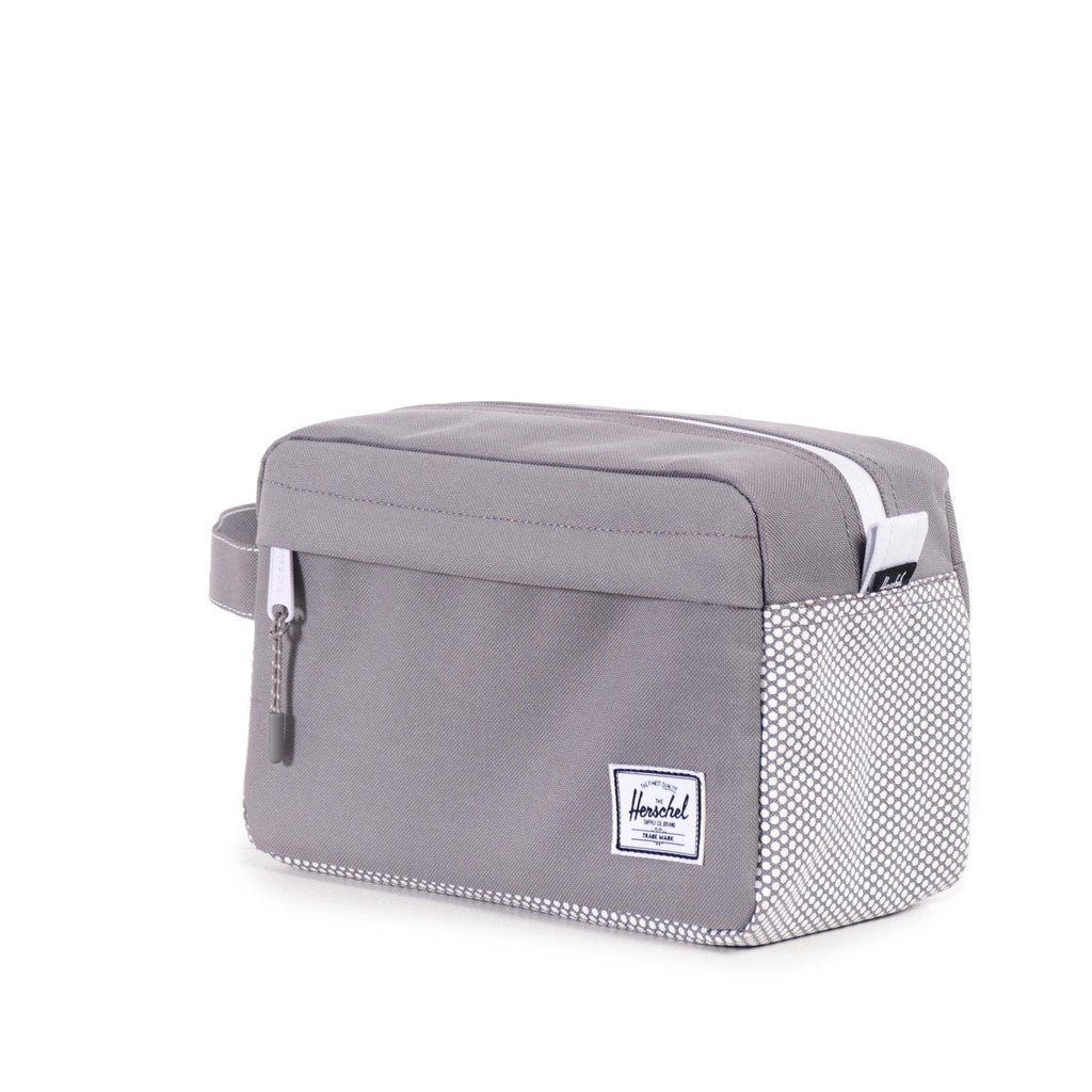 HERSCHEL SUPPLY CO. CHAPTER TRAVEL KIT IN GREY MICRO POLKA DOT  - 2