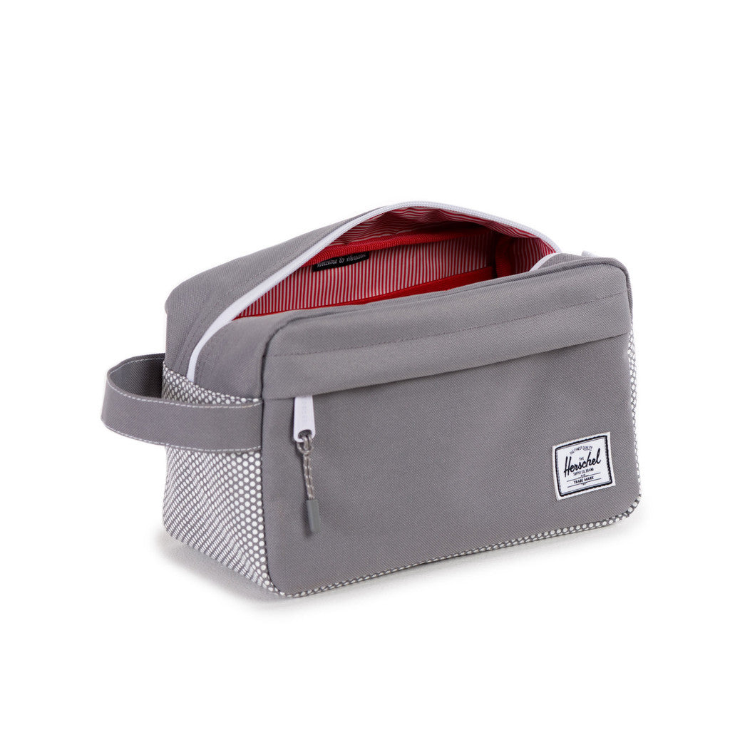 HERSCHEL SUPPLY CO. CHAPTER TRAVEL KIT IN GREY MICRO POLKA DOT  - 3