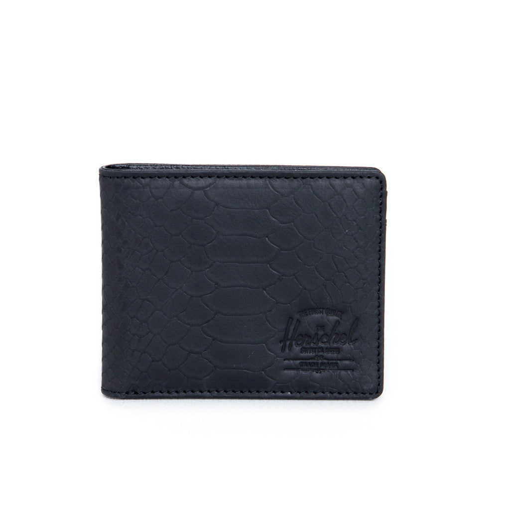 HERSCHEL HANK LEATHER WALLET IN BLACK SNAKE  - 1