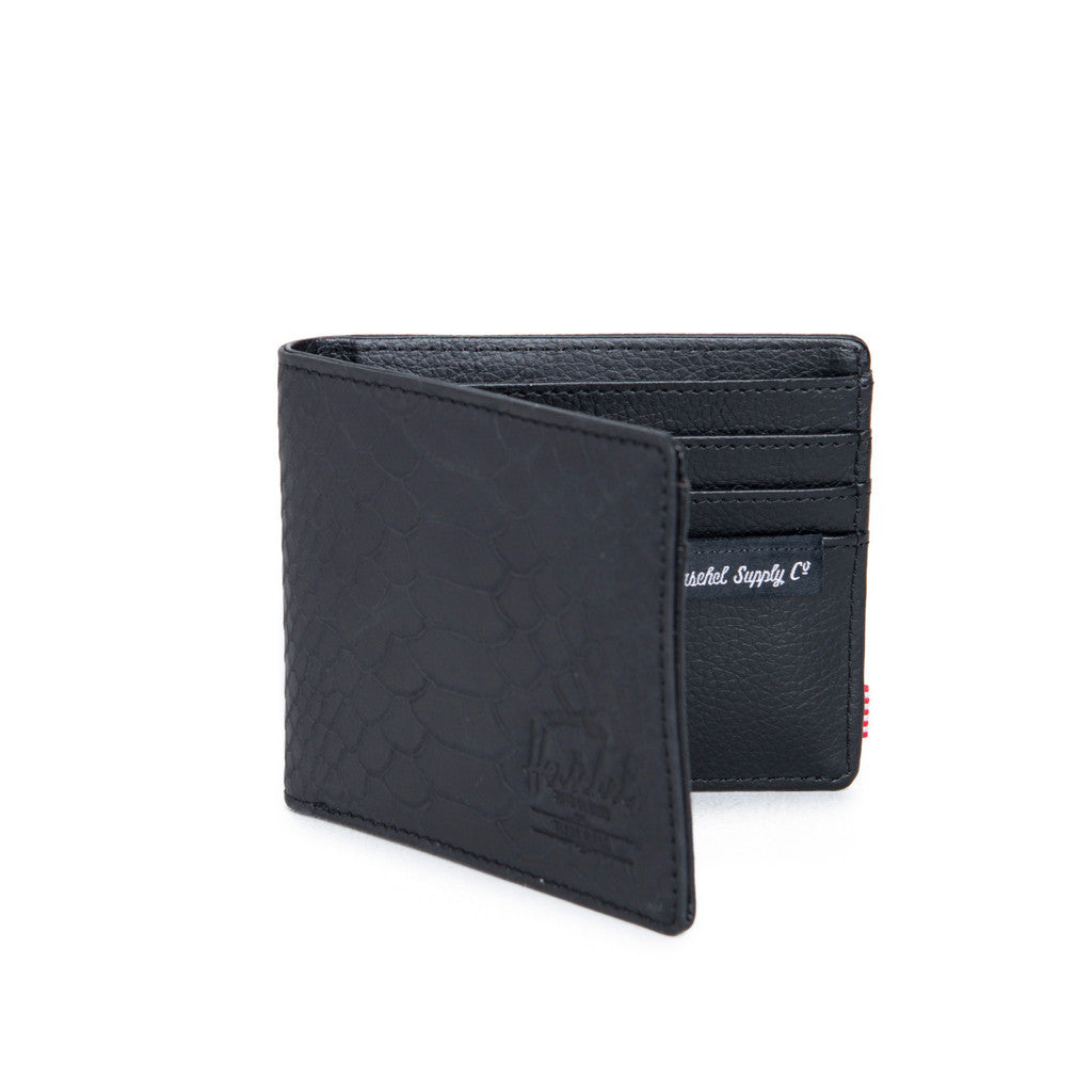 HERSCHEL HANK LEATHER WALLET IN BLACK SNAKE  - 2