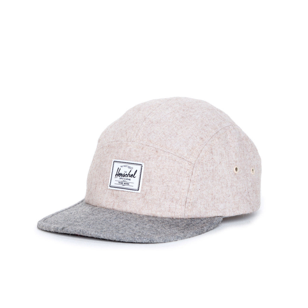 HERSCHEL SUPPLY CO. GLENDALE CAP IN OATMEAL AND GREY BRUSHED COTTON  - 1
