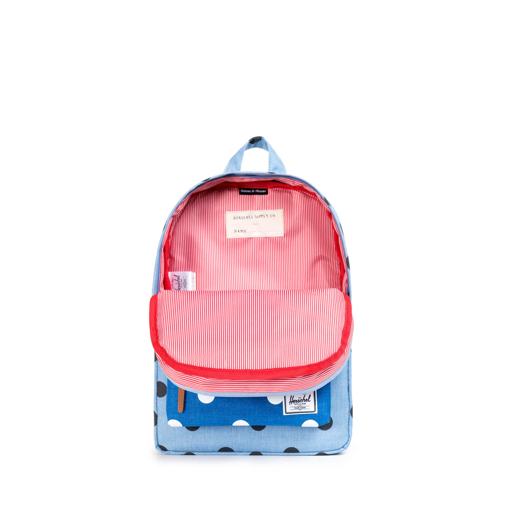 HERSCHEL HERITAGE KIDS BACKPACK IN POLKA DOT CHAMBRAY  - 2