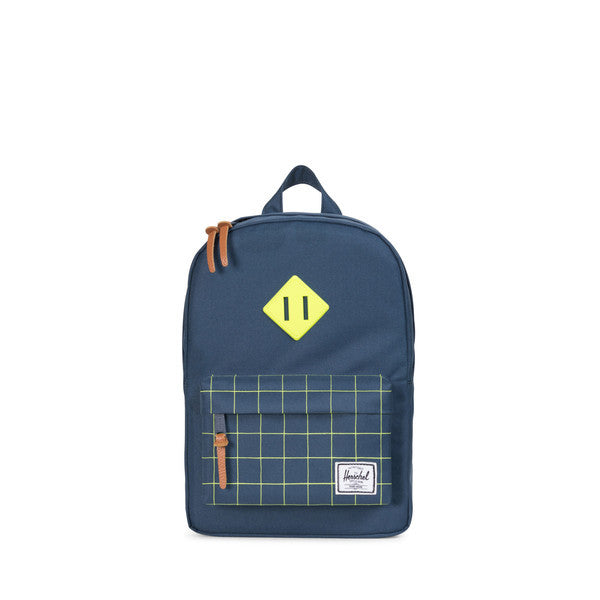 HERSCHEL HERITAGE KIDS BACKPACK IN NAVY AND NEON LIME WITH GRID PRINT  - 1