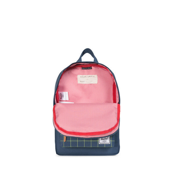 HERSCHEL HERITAGE KIDS BACKPACK IN NAVY AND NEON LIME WITH GRID PRINT  - 2