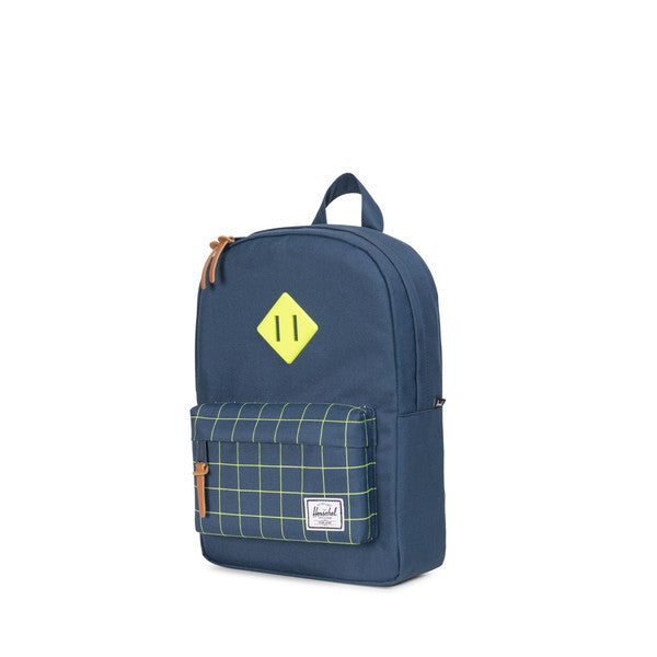 HERSCHEL HERITAGE KIDS BACKPACK IN NAVY AND NEON LIME WITH GRID PRINT  - 3