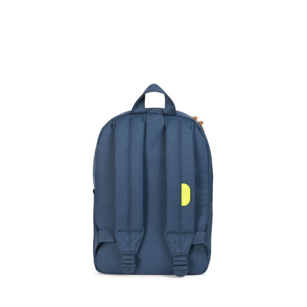 HERSCHEL HERITAGE KIDS BACKPACK IN NAVY AND NEON LIME WITH GRID PRINT  - 4