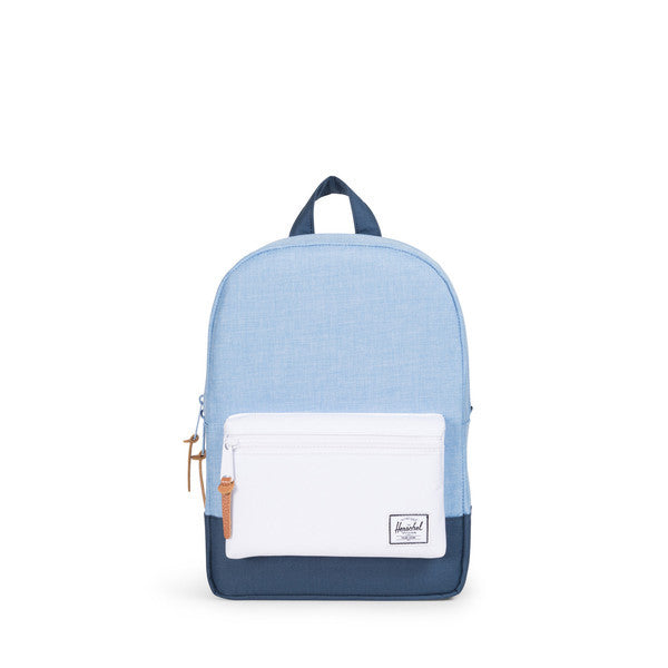 HERSCHEL HERITAGE KIDS BACKPACK IN CHAMBRAY NAVY AND WHITE