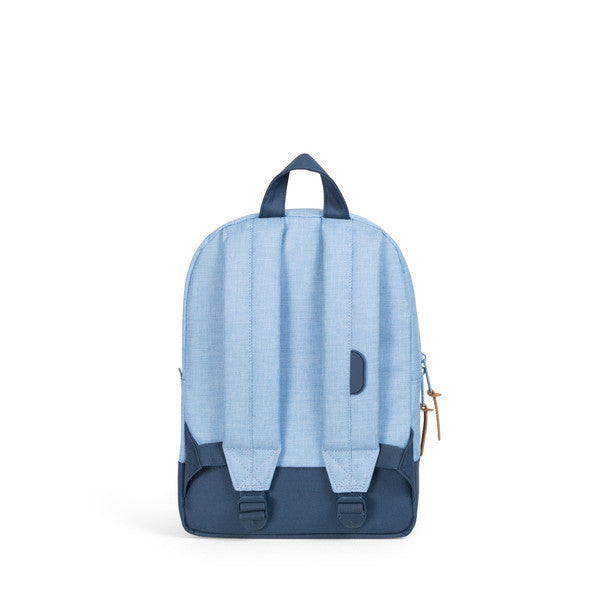 HERSCHEL HERITAGE KIDS BACKPACK IN CHAMBRAY NAVY AND WHITE  - 4
