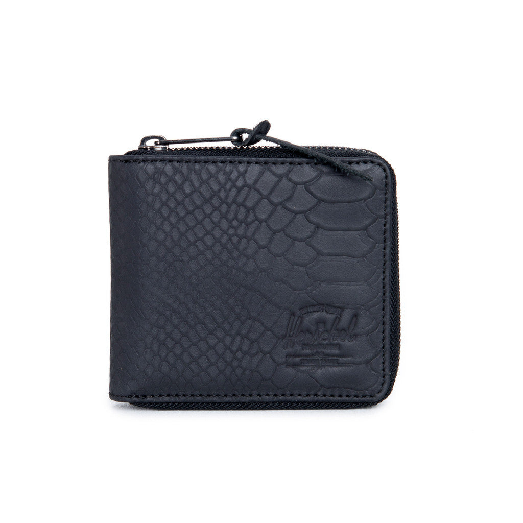 HERSCHEL WALT LEATHER ZIP WALLET IN BLACK SNAKE