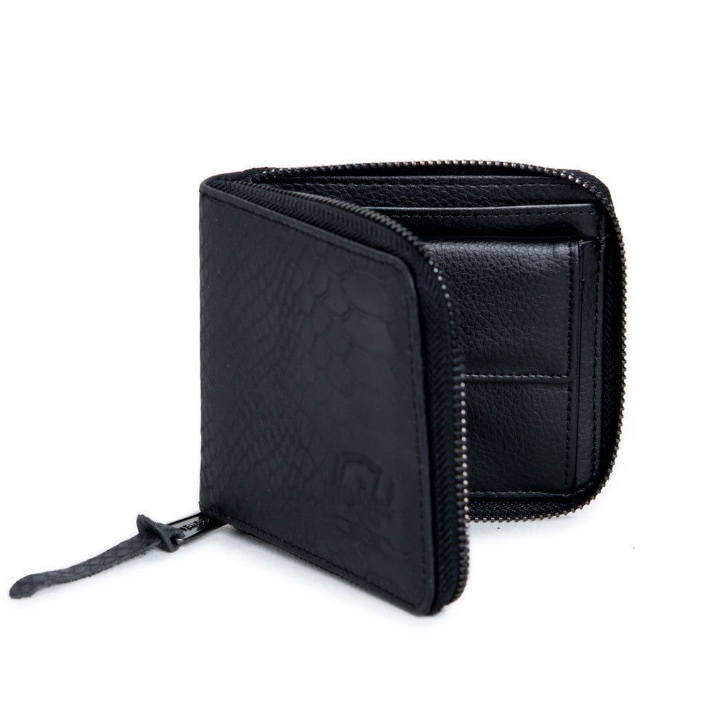 HERSCHEL WALT LEATHER ZIP WALLET IN BLACK SNAKE  - 2