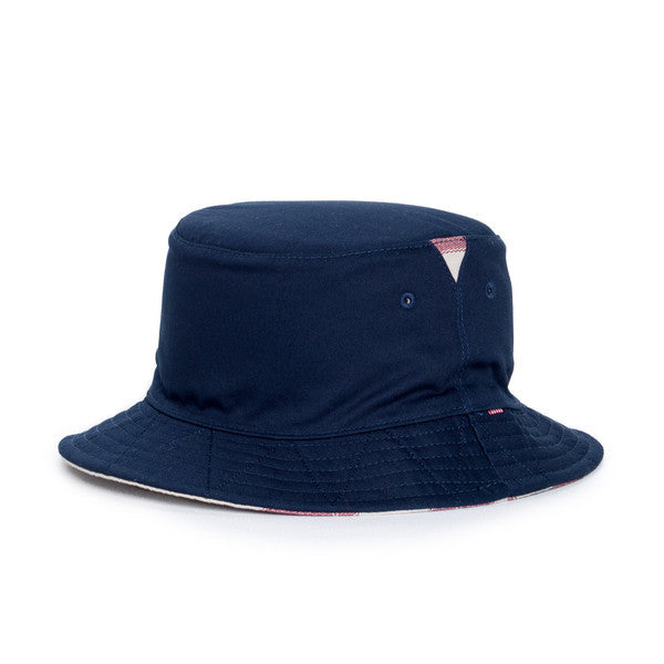 HERSCHEL LAKE BUCKET HAT IN NAVY AND NATURAL FOUTA  - 1
