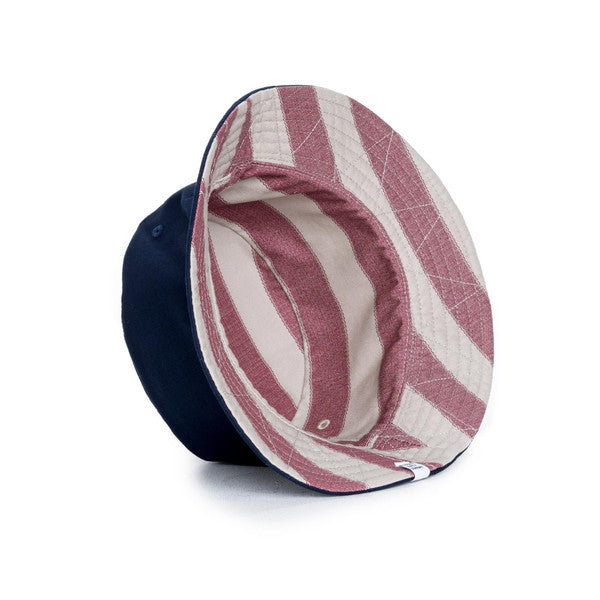 HERSCHEL LAKE BUCKET HAT IN NAVY AND NATURAL FOUTA  - 2