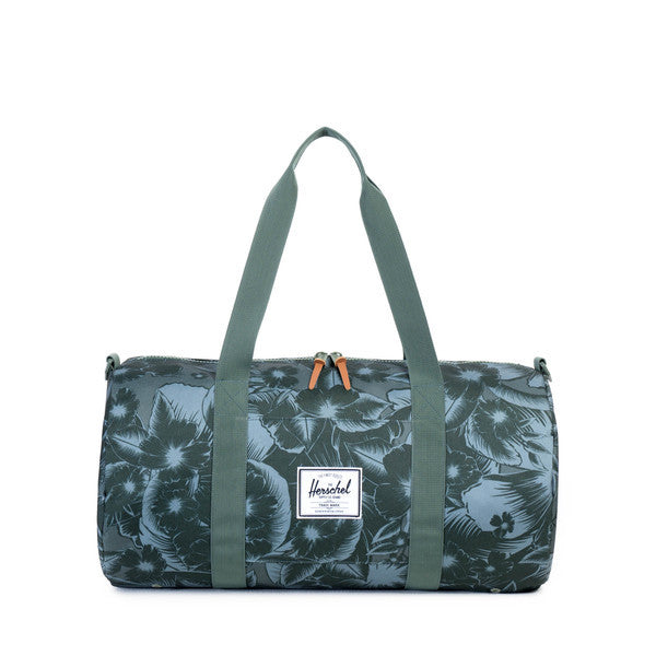 HERSCHEL SUTTON MID-VOLUME DUFFLE IN JUNGLE FLORAL GREEN