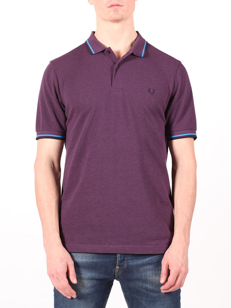 FRED PERRY SLIM FIT TWIN TIPPED SHIRT IN PURPLE  - 1