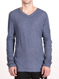 BENSON X WORKSHOP V-NECK LONG-SLEEVE IN INDIGO  - 1