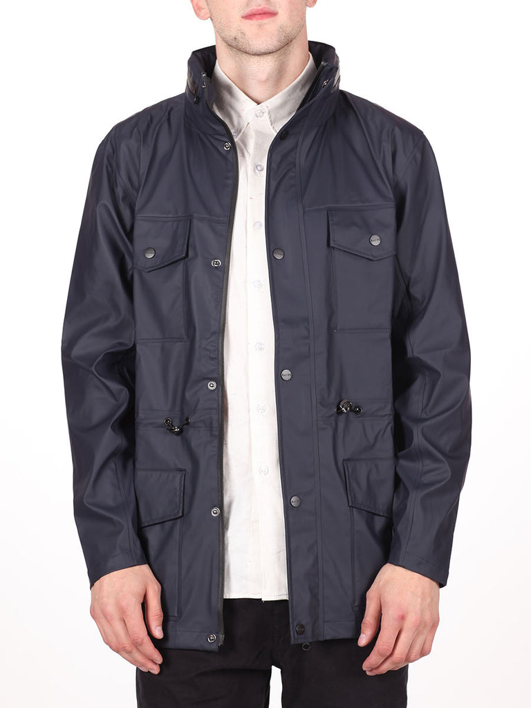 RAINS FOUR POCKET WATERPROOF JACKET IN NAVY  - 1
