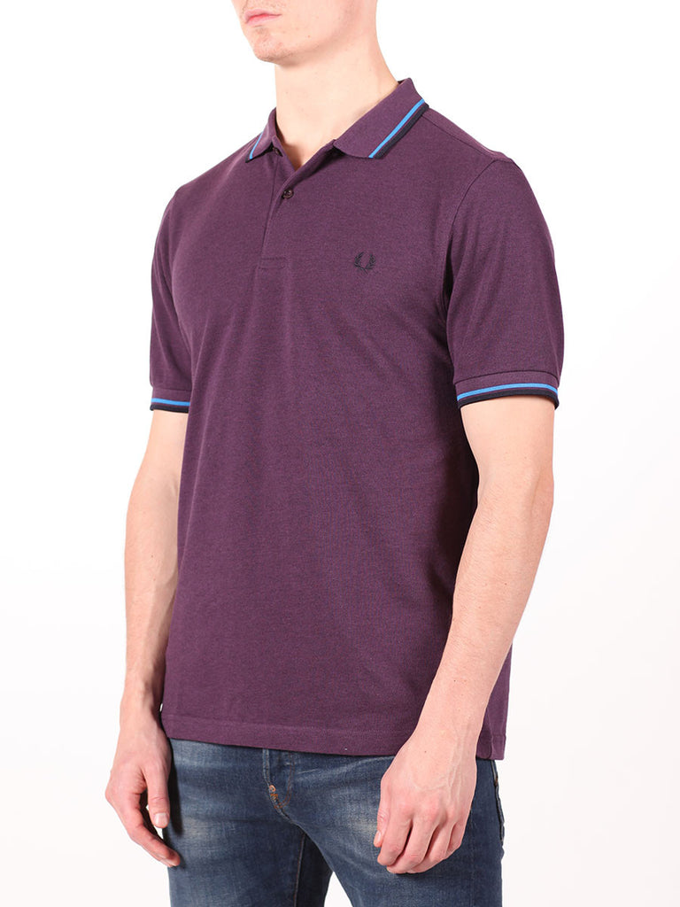 FRED PERRY SLIM FIT TWIN TIPPED SHIRT IN PURPLE  - 2