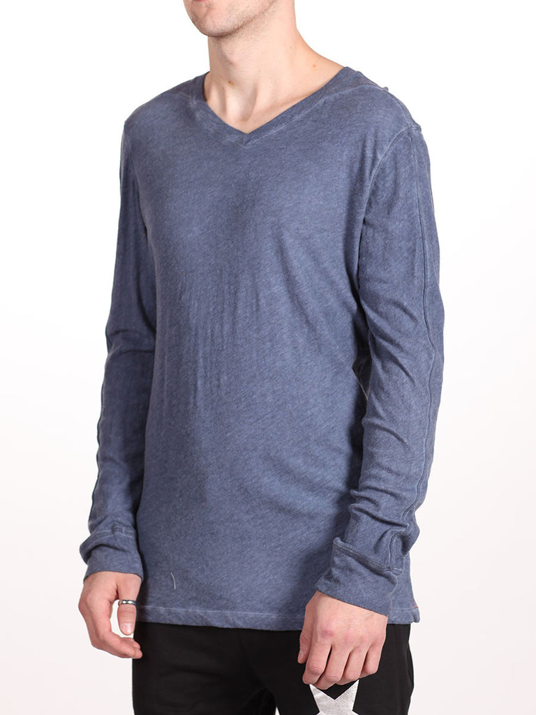 BENSON X WORKSHOP V-NECK LONG-SLEEVE IN INDIGO  - 2
