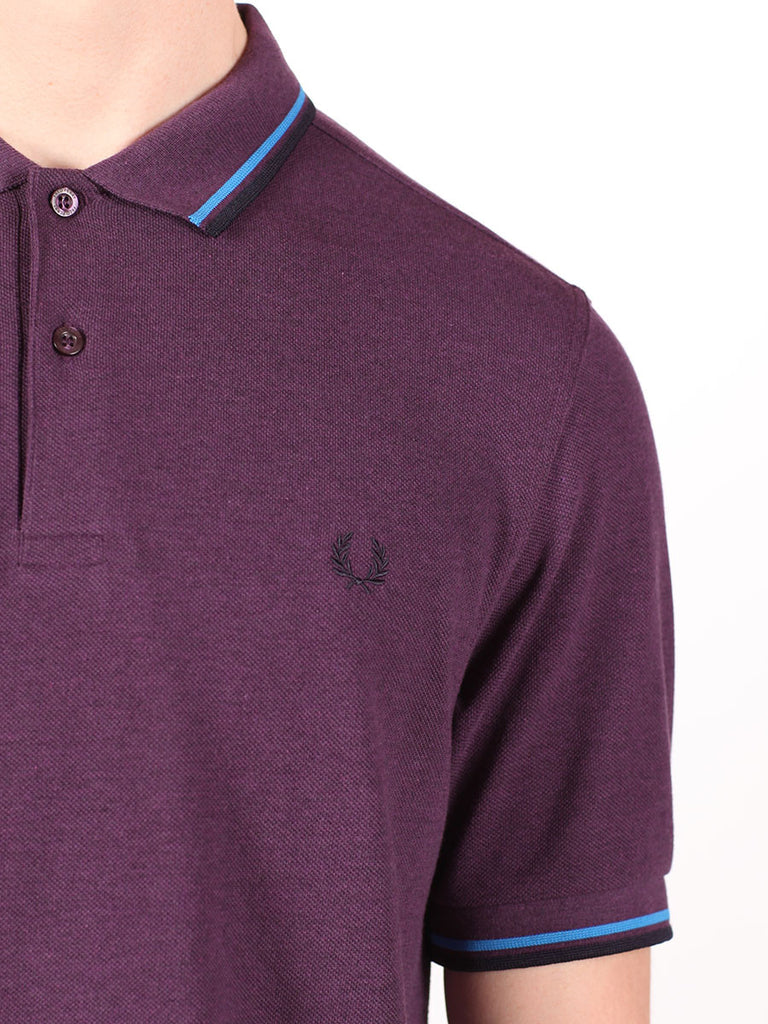 FRED PERRY SLIM FIT TWIN TIPPED SHIRT IN PURPLE  - 4
