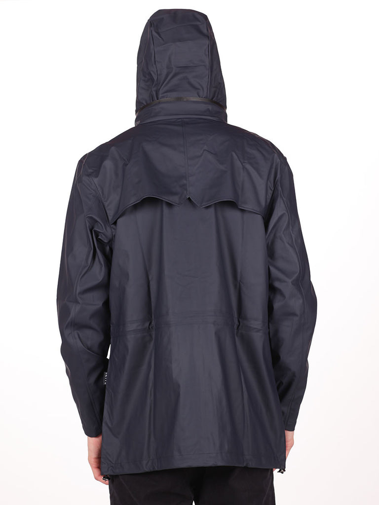 RAINS FOUR POCKET WATERPROOF JACKET IN NAVY  - 4