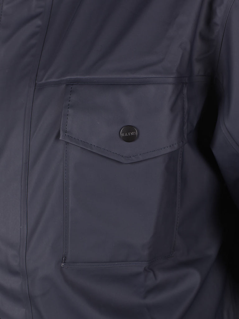 RAINS FOUR POCKET WATERPROOF JACKET IN NAVY  - 5