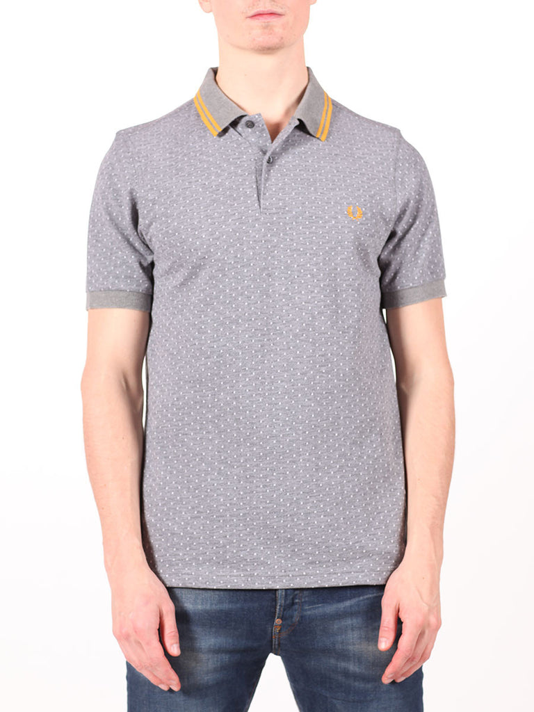 FRED PERRY TEXTURED POLKADOT PIQUE SHIRT IN GRAPHITE  - 1