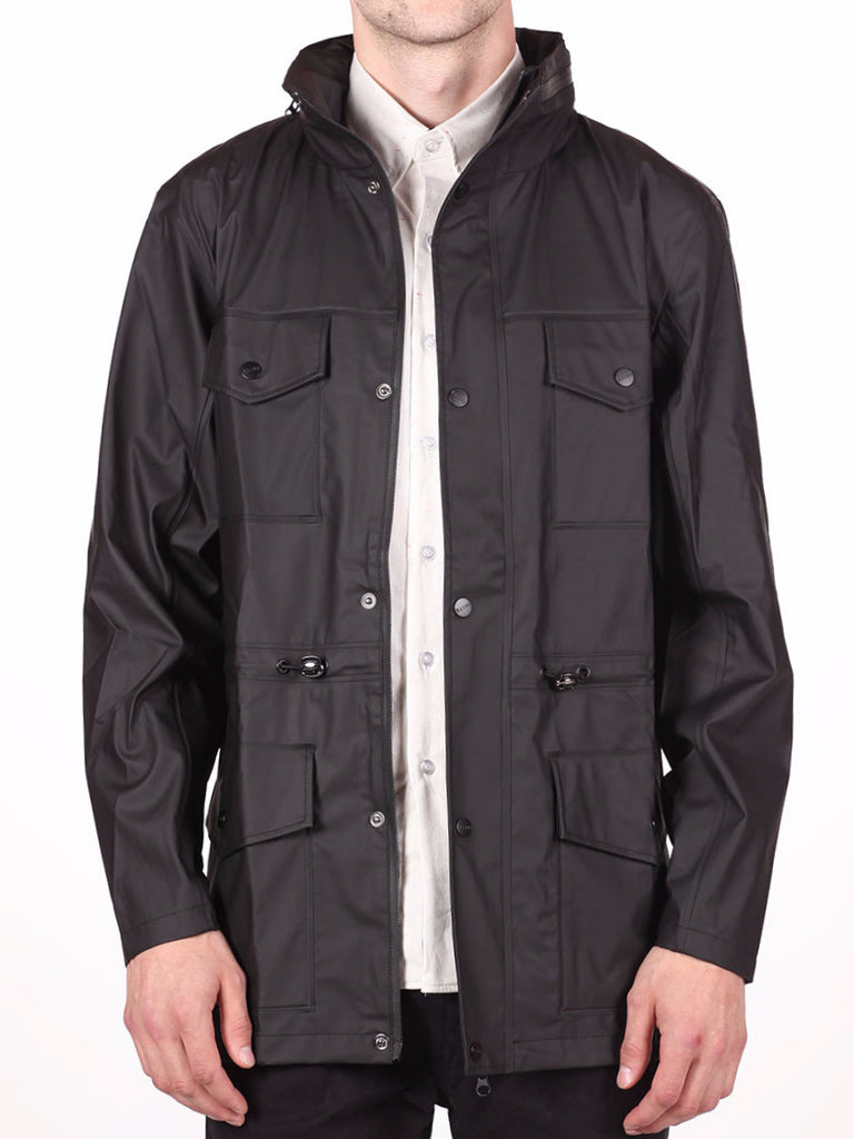 RAINS FOUR POCKET WATERPROOF JACKET IN BLACK