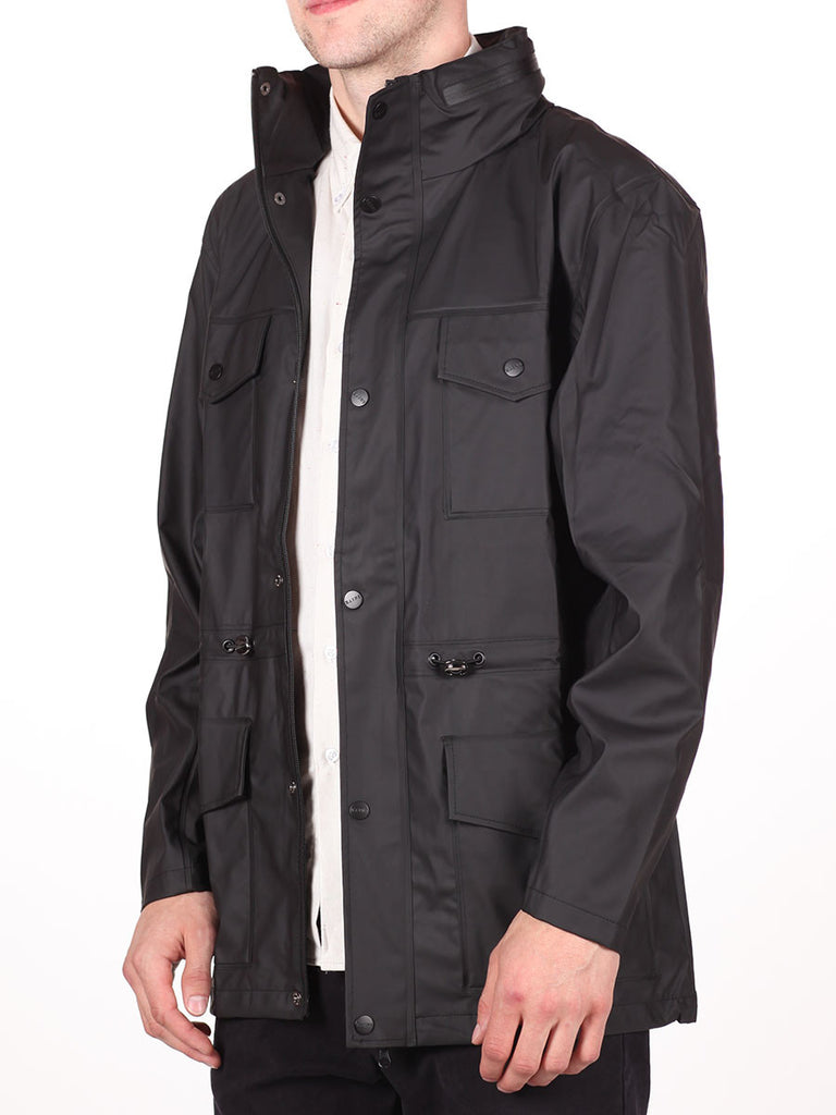 RAINS FOUR POCKET WATERPROOF JACKET IN BLACK  - 2