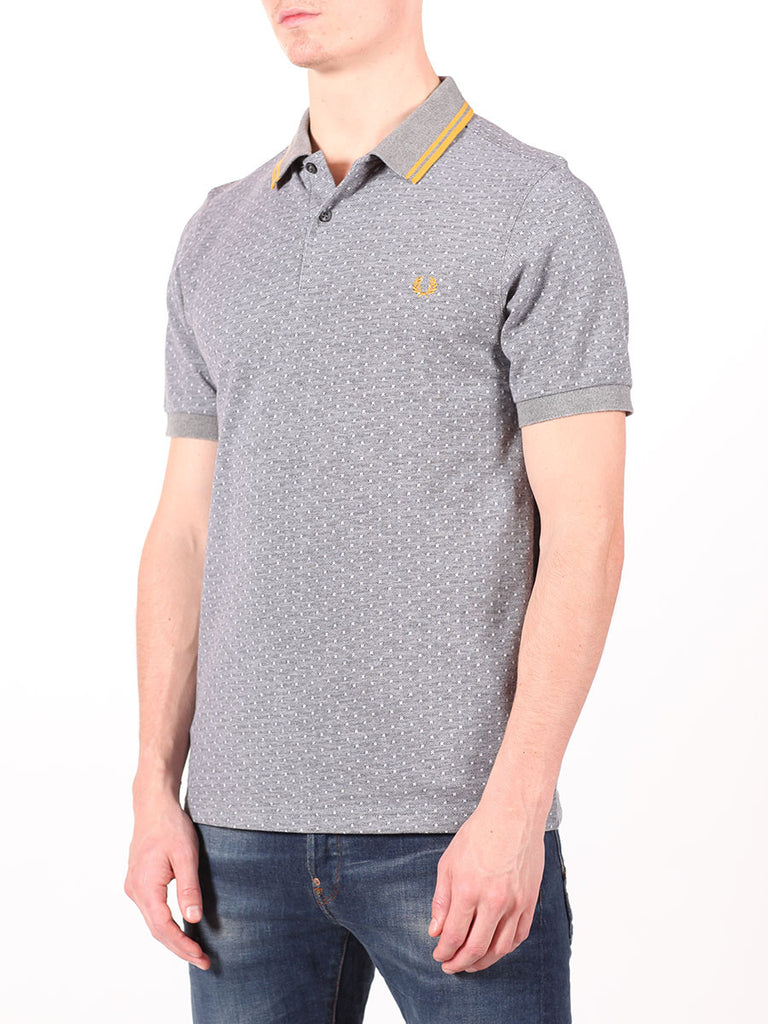 FRED PERRY TEXTURED POLKADOT PIQUE SHIRT IN GRAPHITE  - 2