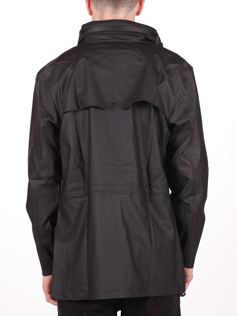 RAINS FOUR POCKET WATERPROOF JACKET IN BLACK  - 3