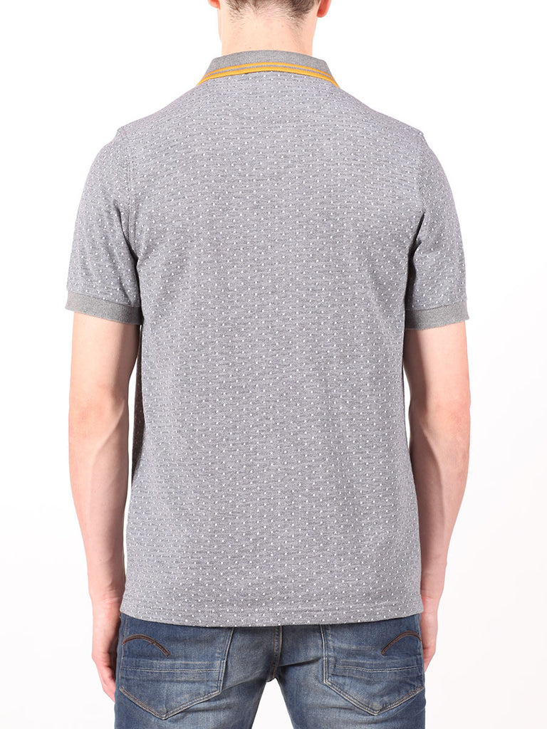 FRED PERRY TEXTURED POLKADOT PIQUE SHIRT IN GRAPHITE  - 3
