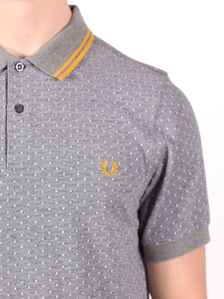 FRED PERRY TEXTURED POLKADOT PIQUE SHIRT IN GRAPHITE  - 4
