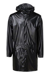 RAINS LONG JACKET IN SHINY BLACK