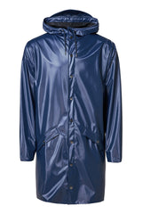 RAINS LONG JACKET IN SHINY BLUE